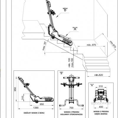 Schodołaz gąsienicowy T09 do transportu po schodach prostych osób niepełnosprawnych na tradycyjnych wózkach inwalidzkich - wymiary techniczne
